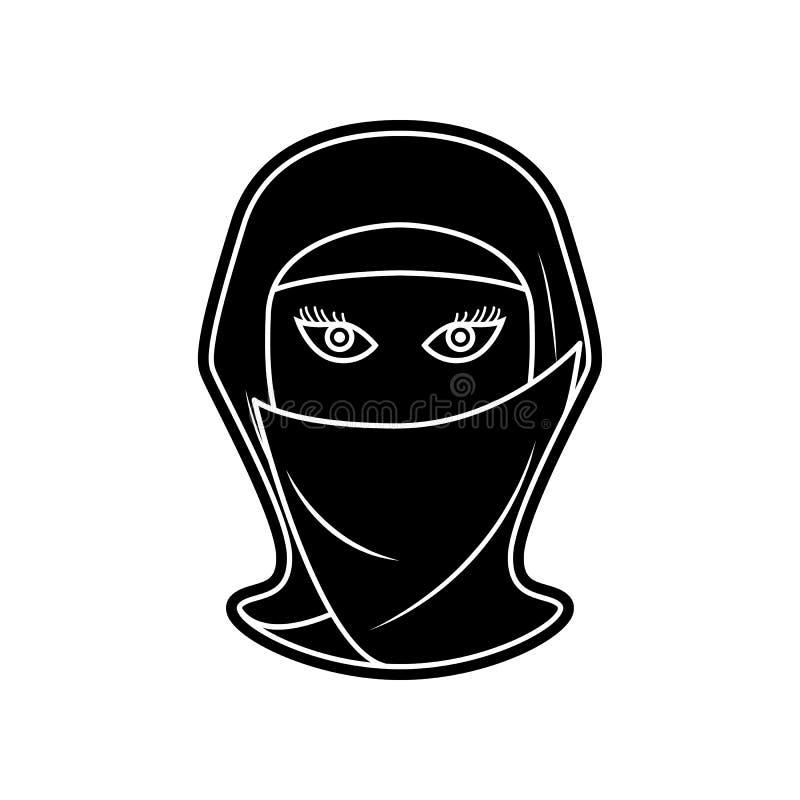 Avatara einer arabischen Frauenikone Element von arabischem f?r bewegliches Konzept und Netz Appsikone Glyph, flache Ikone f?r We vektor abbildung