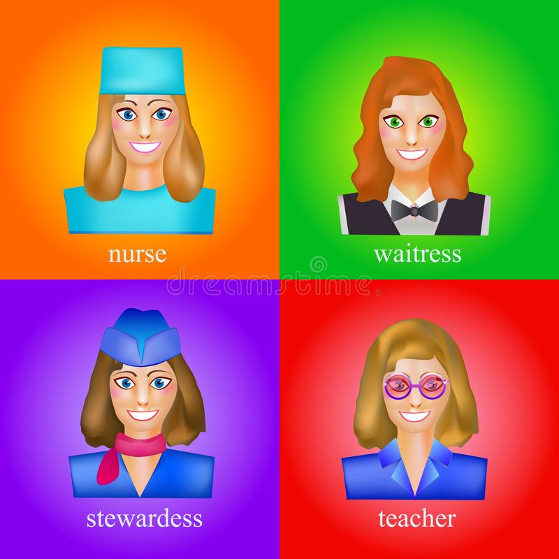 Avatara einer Frau in der Berufsform der Krankenschwester Avataras für das Studieren von Sprachen, Angestellte, für Freunde, für vektor abbildung