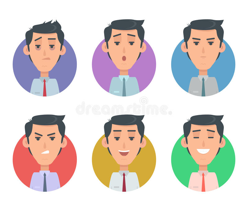 Avatara Userpics-Gefühle Vielzahl von männlichem Feeings lizenzfreie abbildung
