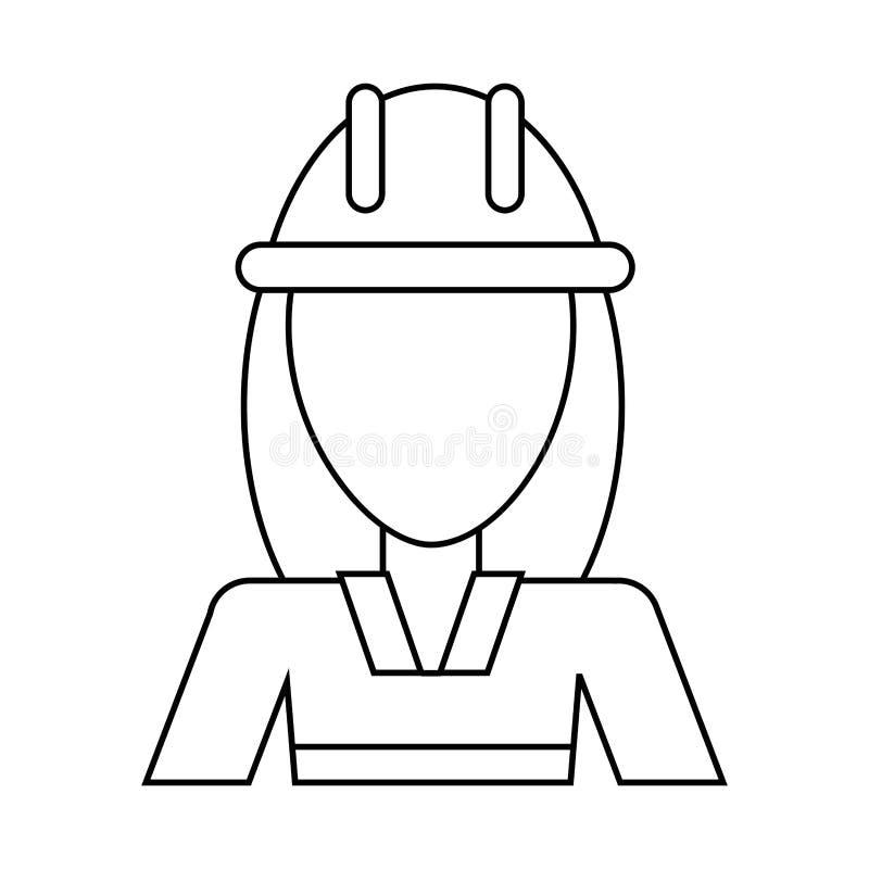 Avatarafrauen-Bauarbeitersturzhelm verdünnen Linie vektor abbildung