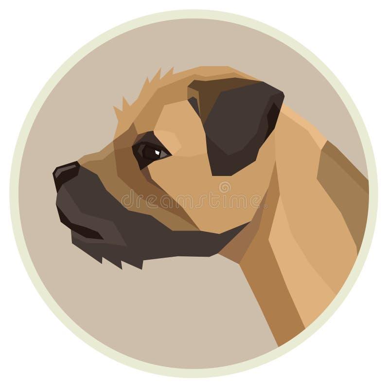 Avataraikone des Hundesammlung Border Terrier-geometrischen Stils rund lizenzfreie abbildung