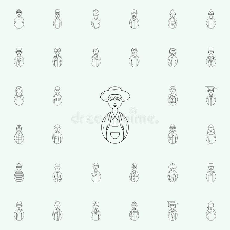avatarbondesymbol Universell uppsättning för Avatarssymboler för rengöringsduk och mobil stock illustrationer