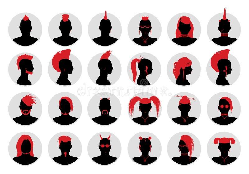 Avatares de la gente de Goth, del punky y de la alternativa stock de ilustración