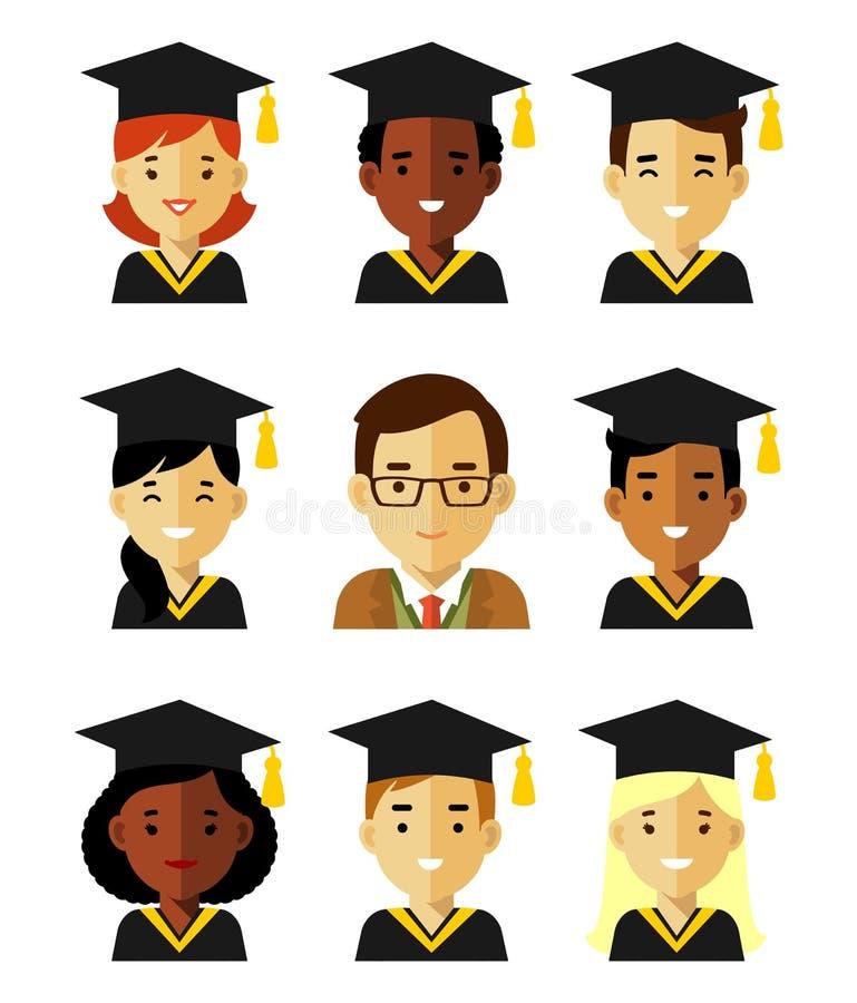 Avatares de la gente de la educación de la graduación en estilo plano ilustración del vector