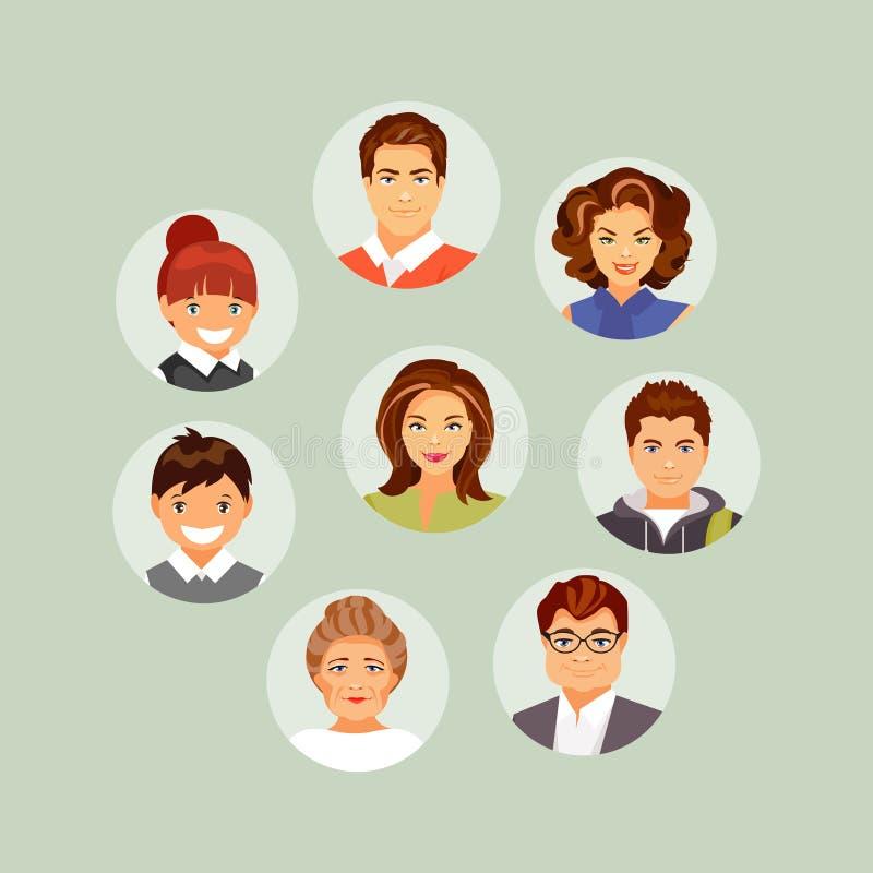 Avatares de la gente fijados stock de ilustración