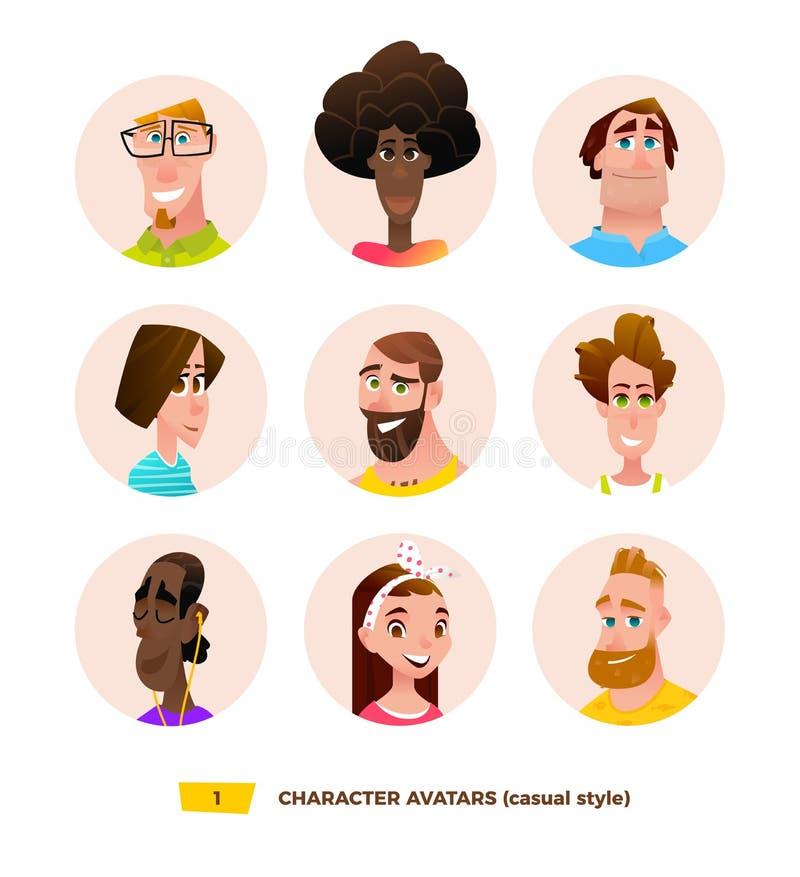 Avatares de los caracteres en estilo plano de la historieta stock de ilustración
