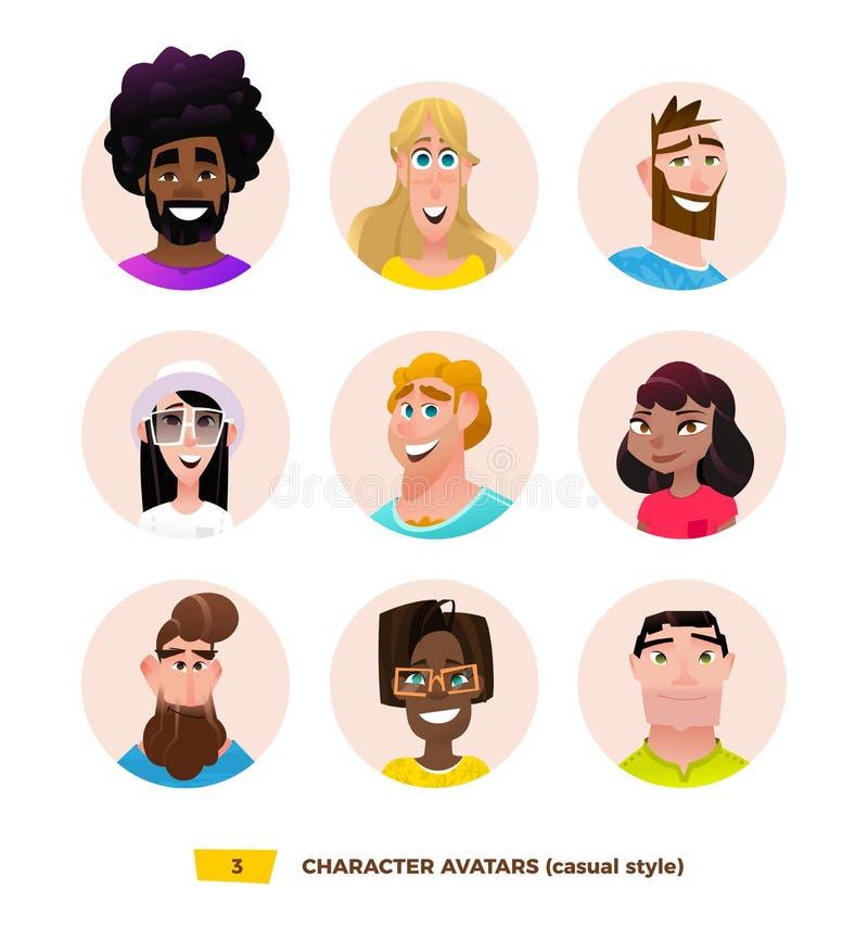 Avatares de los caracteres en estilo plano de la historieta ilustración del vector