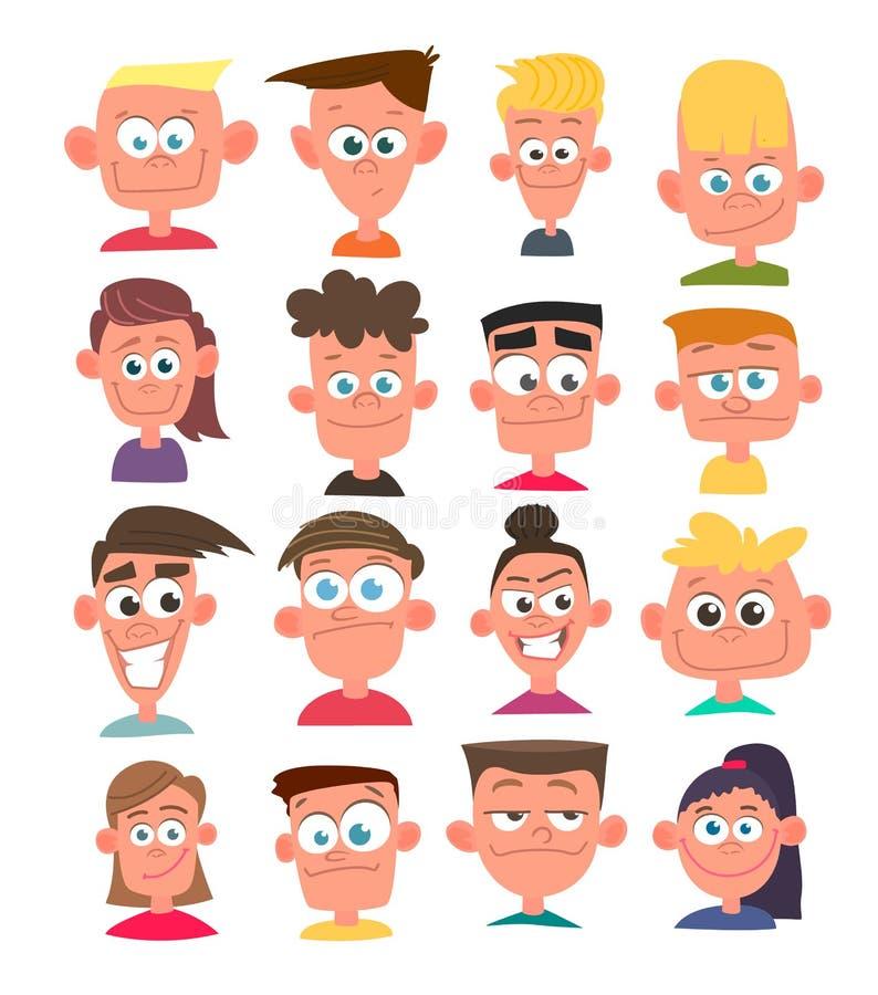 Avatares de los caracteres en estilo plano de la historieta Vector ilustración del vector