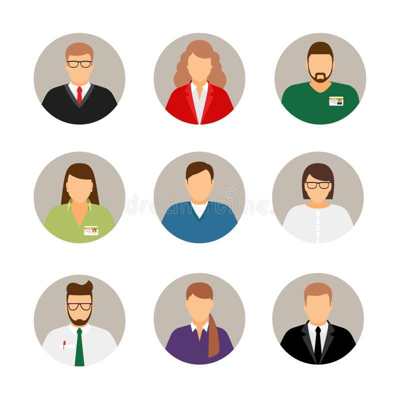 Avatares de los empresarios ilustración del vector