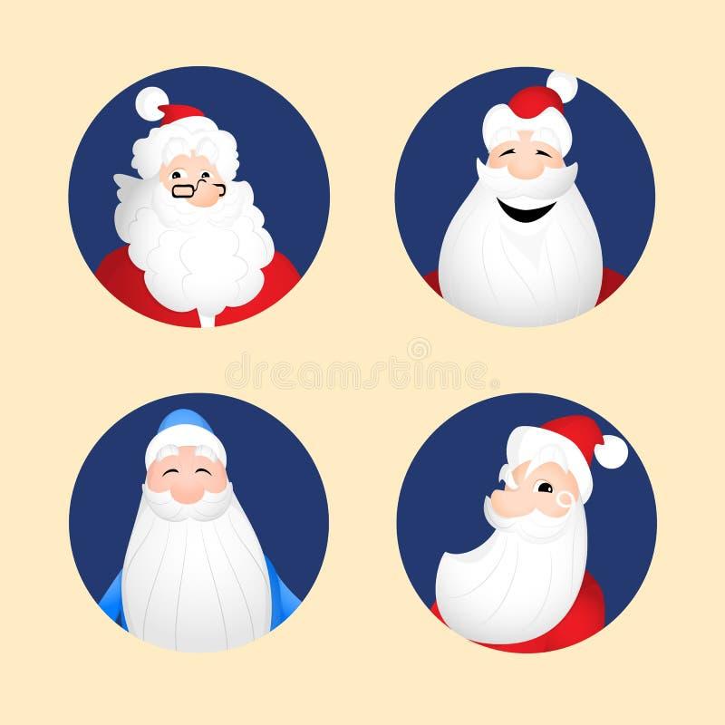 Avatares de Papá Noel stock de ilustración