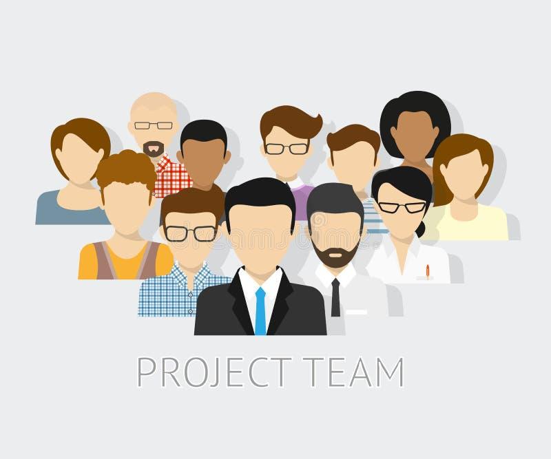 Avatares del equipo de proyecto ilustración del vector