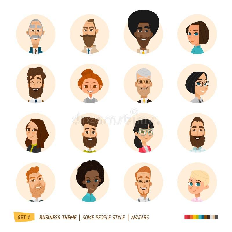 Avatares del negocio fijados stock de ilustración