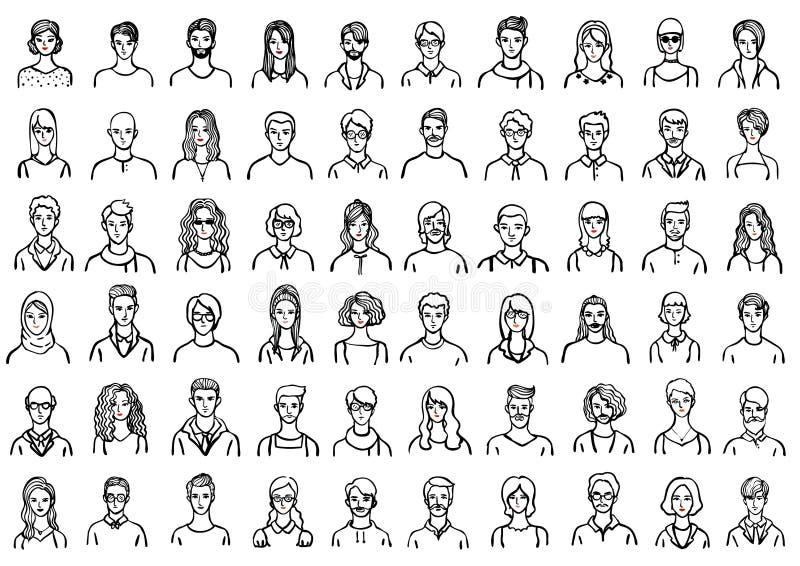 Avatares dibujados mano fijados libre illustration