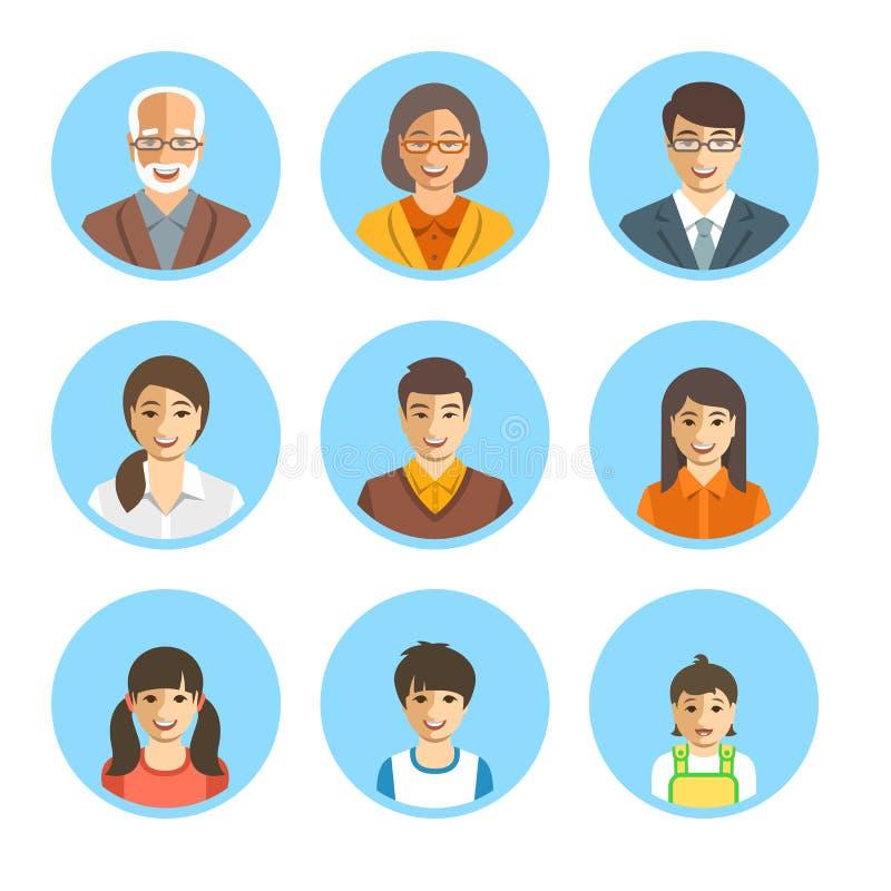 Avatares planos de las caras felices asiáticas de la familia fijados stock de ilustración