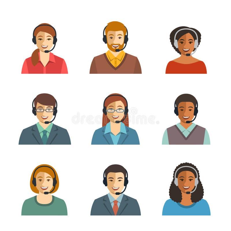 Avatares planos de los agentes del centro de atención telefónica ilustración del vector