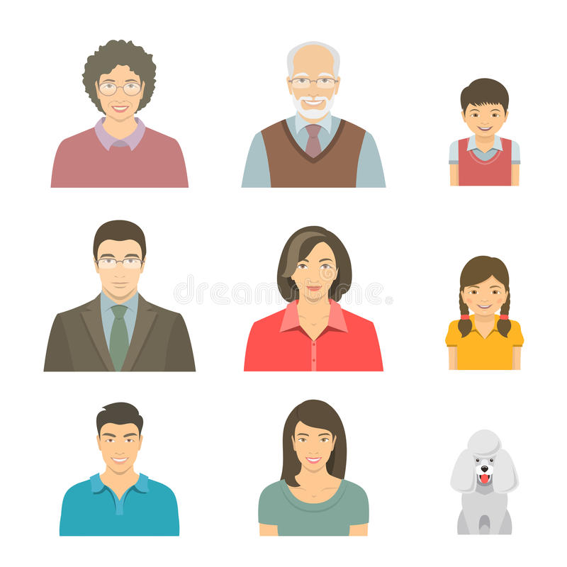 Avatares planos del vector de las caras asiáticas de la familia fijados stock de ilustración