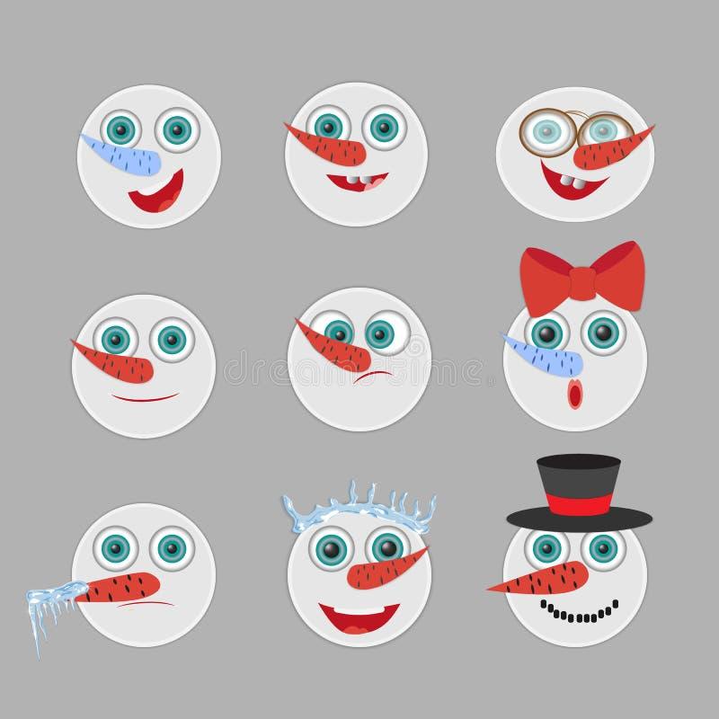 Avatares principales del vector de la emoción de los muñecos de nieve lindos fijados historieta stock de ilustración
