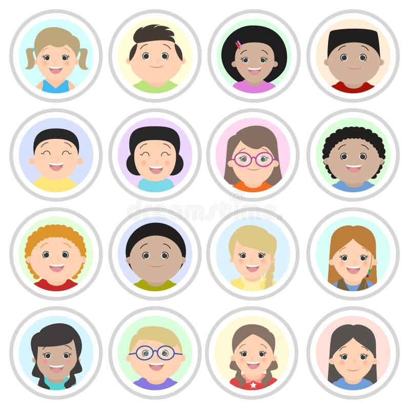 Avatares, retratos del ` s de los niños Muchachos y muchachas ilustración del vector