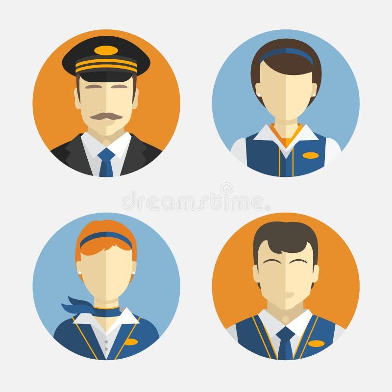 Avatarfolk Plan design Vektorsymboler som visar olika yrkepiloter och den nätta flygvärdinnan i likformig stock illustrationer