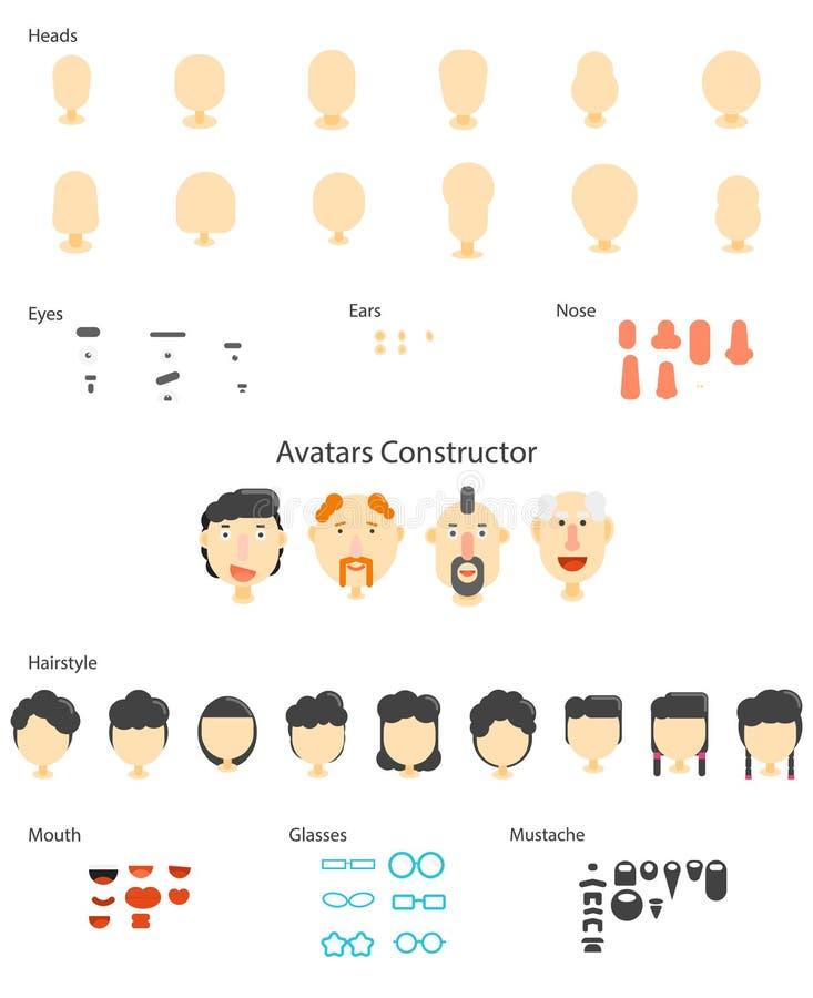 Avatarkonstruktördiagram stock illustrationer