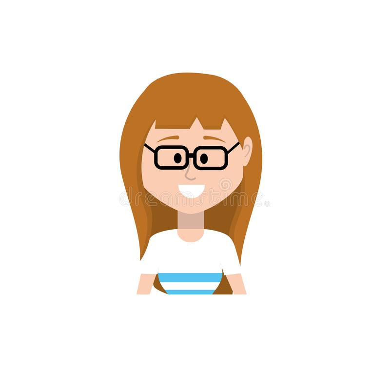 Avatarkvinna med frisyr- och blusdesign stock illustrationer