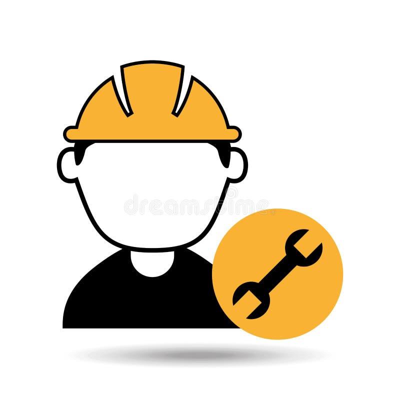 avatarmanbyggnadsarbetare med skiftnyckelhjälpmedelsymbolen royaltyfri illustrationer