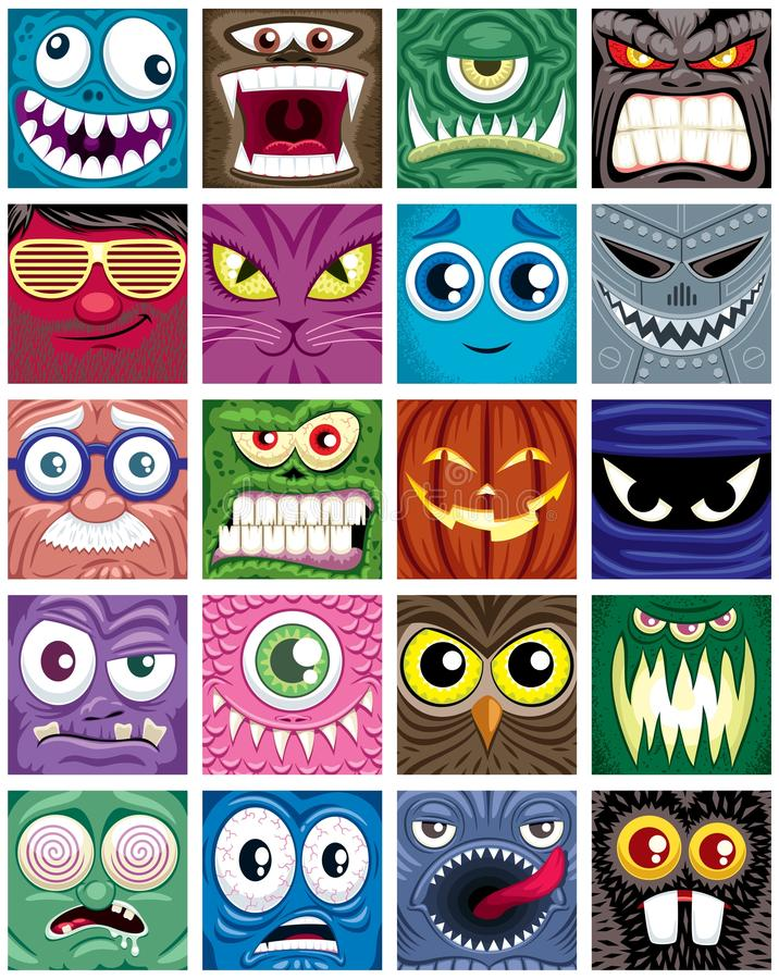 Avatars. Set of 20 square avatars