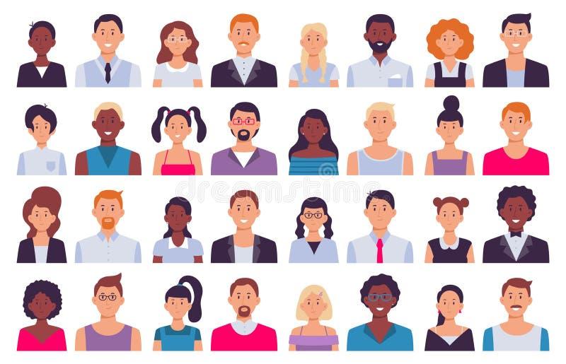 Avatars adultos dos povos Homem no terno de negócio, no avatar incorporado da mulher e na ilustração lisa do vetor do ícone da pe ilustração do vetor