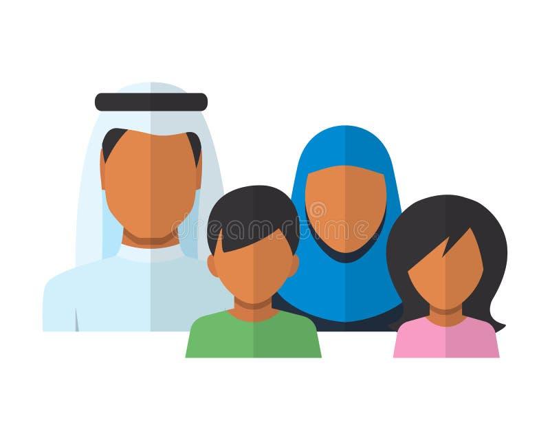 Avatars arabes de membres de la famille dans le style plat illustration stock