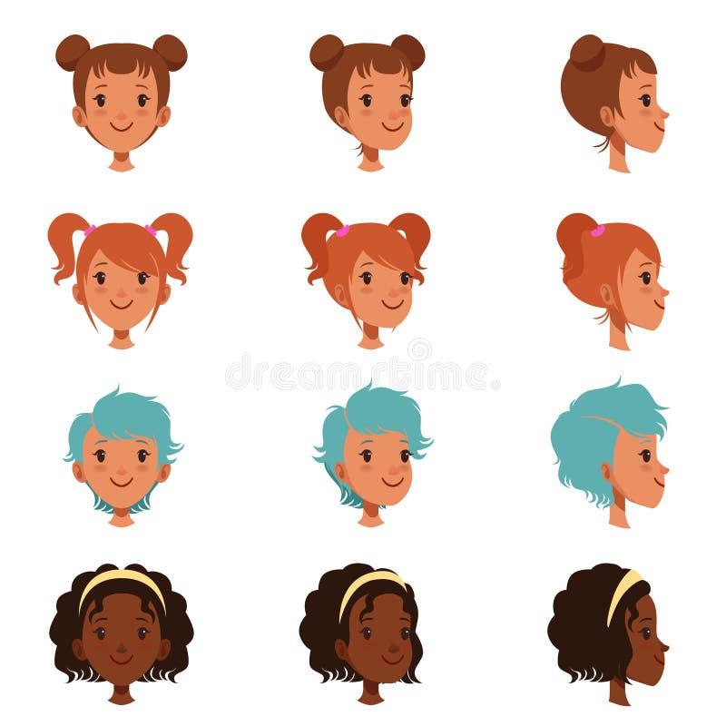 Avatars av kvinnliga framsidor med olika frisyrer och frisyrer Bekläda, och sidan beskådar Isolerad plan vektorillustration royaltyfri illustrationer