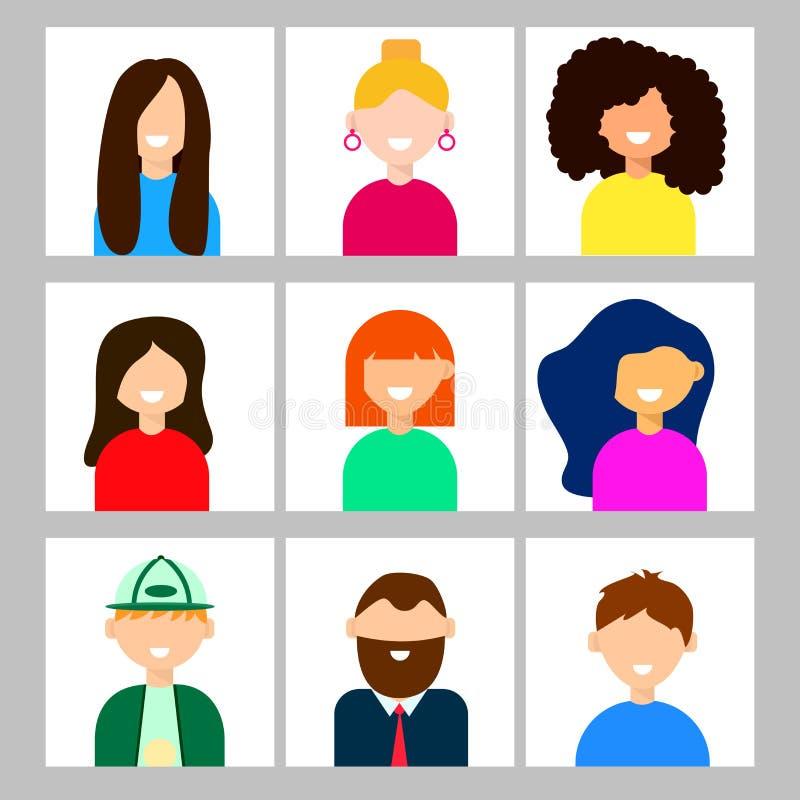 Avatars av män och kvinnor i plan stil stock illustrationer