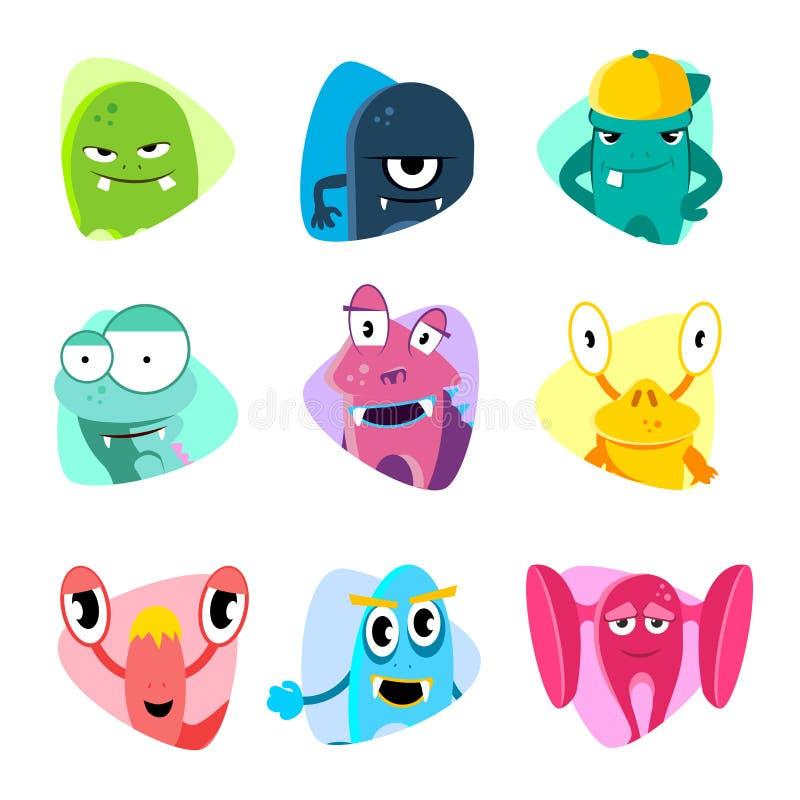 Avatars bonitos e ícones dos desenhos animados Grupo do vetor das caras do monstro ilustração do vetor