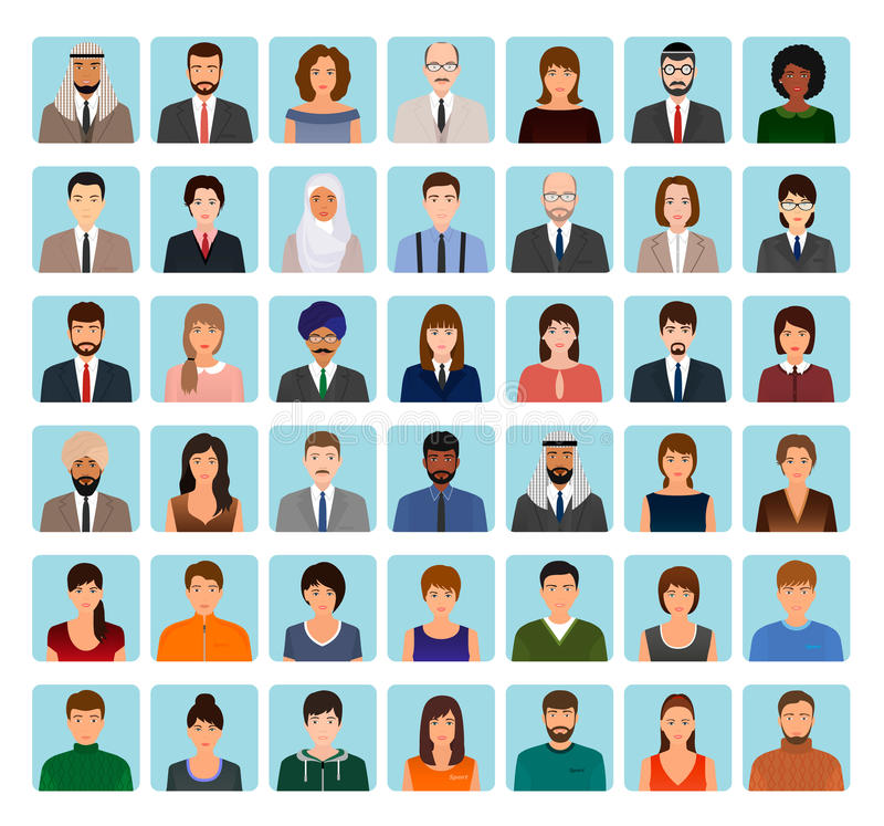 Avatars characters set of different people. Business, elegant and sports icons of faces to your profile. vector illustration