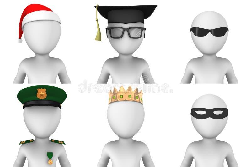 avatars 3d des hommes blancs illustration libre de droits