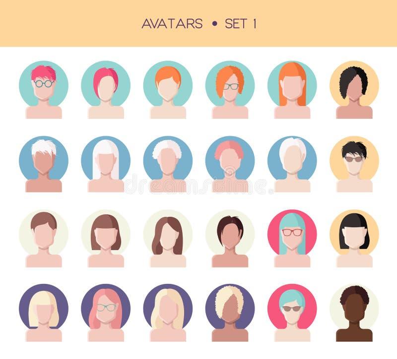 Avatars da cara da mulher ajustados ilustração do vetor