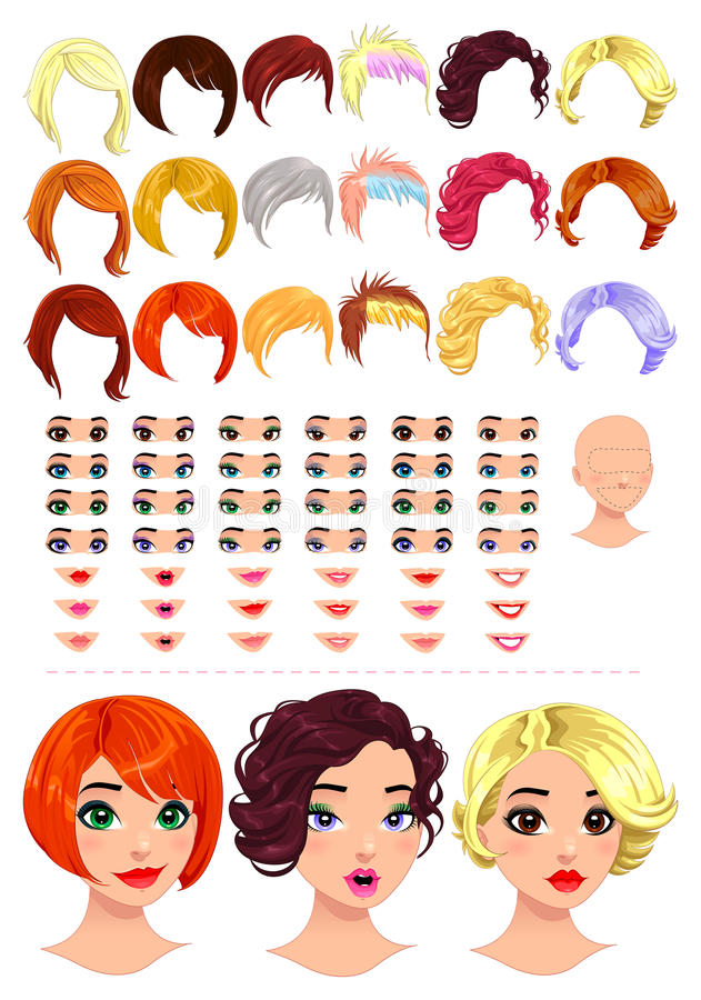 Avatars da fêmea da forma. ilustração stock