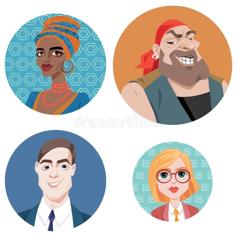 Avatars dans le style de bande dessinée illustration stock