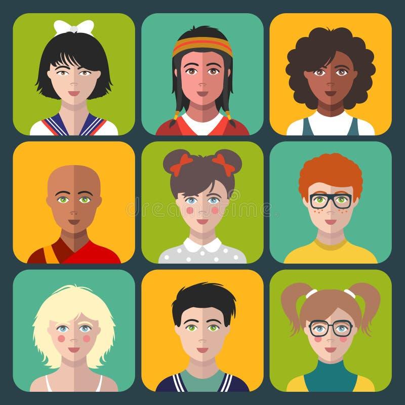 Avatars das crianças do vetor O grupo de nacionalidade diferente caçoa as caras no estilo liso Ícones do app dos retratos das men ilustração do vetor