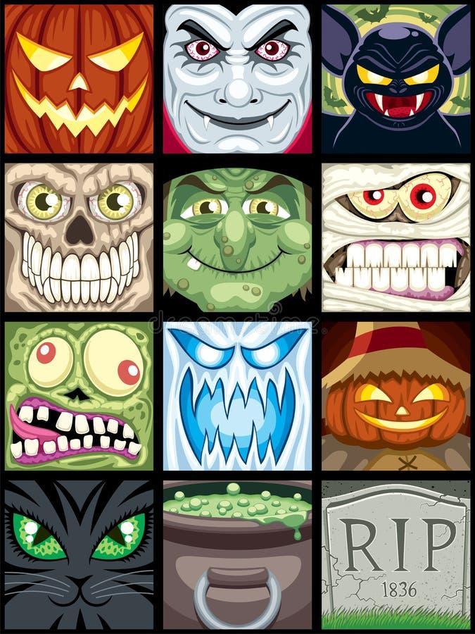 Avatars de Halloween ilustração royalty free