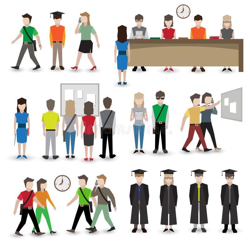 Avatars de personnes d'université illustration de vecteur