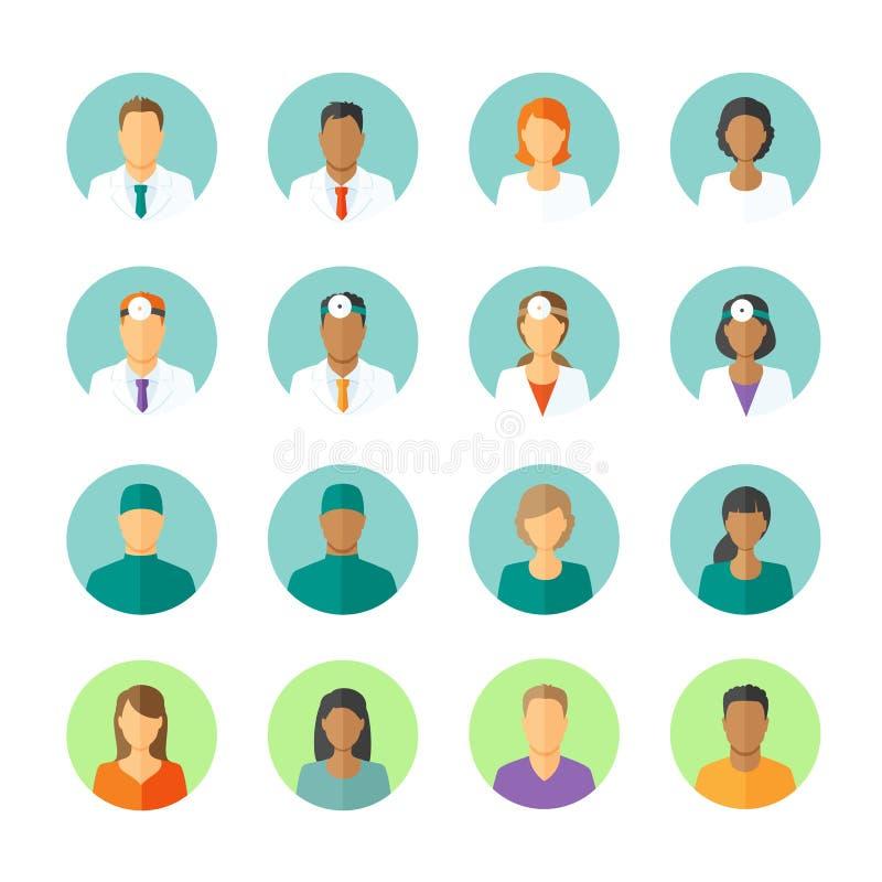 Avatars des médecins et des patients pour le forum médical illustration libre de droits