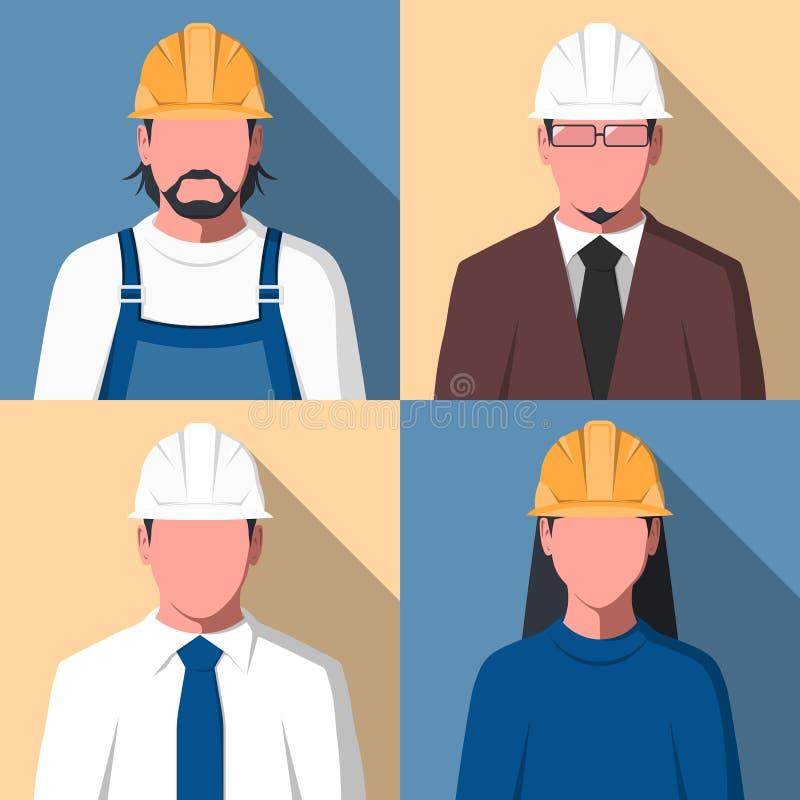 Avatars des travailleurs de la construction illustration libre de droits