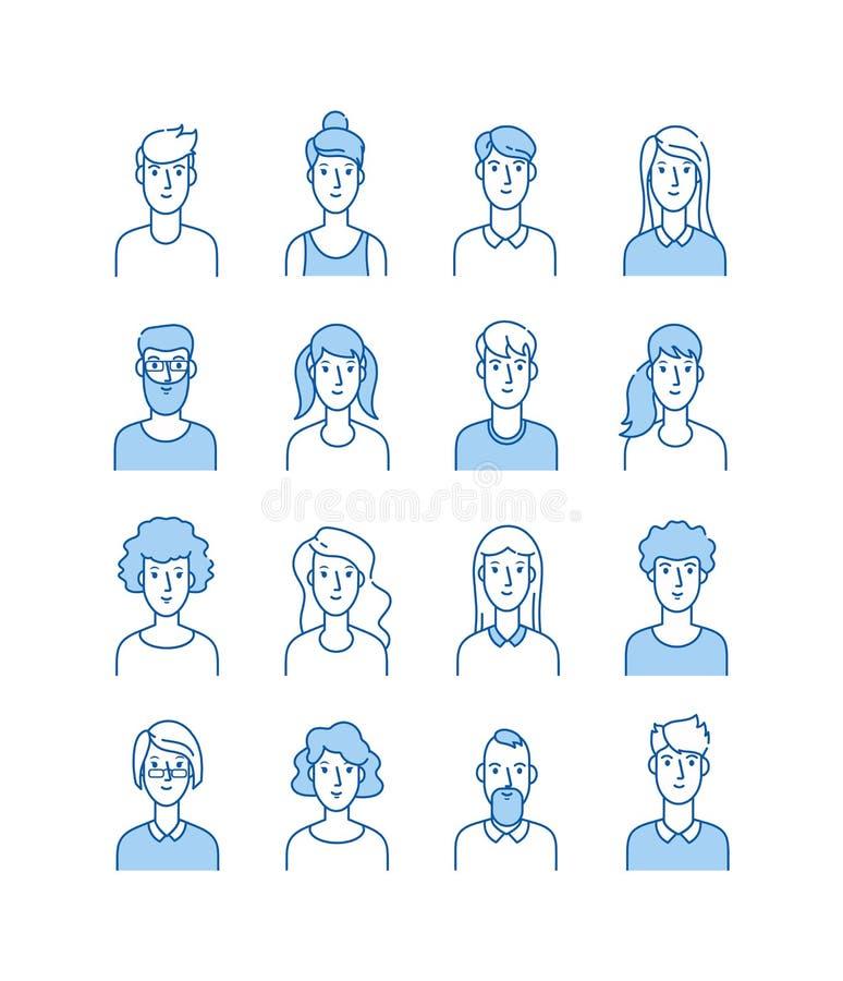 Avatars do esboço Linha lisa de sorriso da mulher anônima do homem das caras da mulher do homem avatar bonito do usuário dos ícon ilustração stock