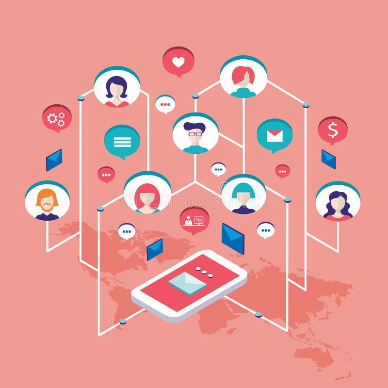 Avatars do usuário dos povos da ilustração do conceito de uma comunicação social da rede e bolhas isométricos do discurso ilustração do vetor