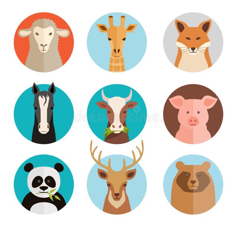 Avatars dos animais ilustração do vetor