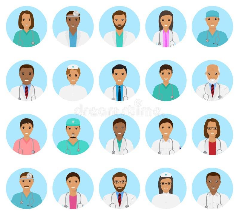 Avatars dos caráteres dos doutores e das enfermeiras ajustados Ícones médicos dos povos das caras em um fundo azul ilustração royalty free