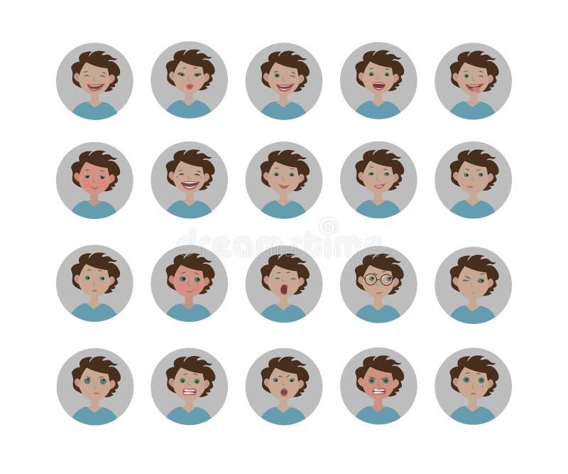 Avatars emoties Reeks gelaatsuitdrukkingen Emojipictogrammen van de beeldverhaalstijl vector illustratie