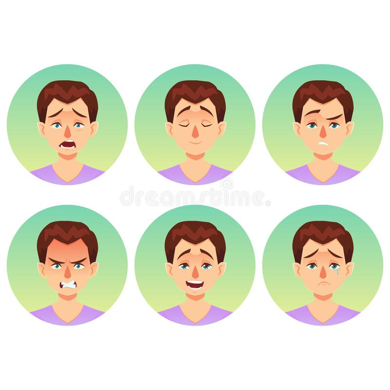 Face Expression Of A Man - Tired  Male Emotions  Stock