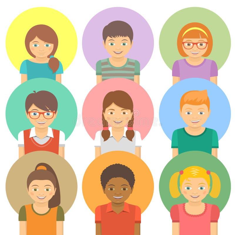 Avatars heureux d'enfants illustration de vecteur