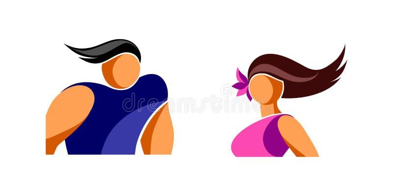 Avatars ikony młody człowiek i kobieta royalty ilustracja